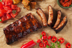 Honey glazed pork ribs Royalty Free Stock Images