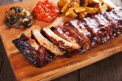 Honey glazed pork ribs Stock Photo