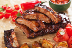 Honey glazed pork ribs Stock Image