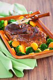 Honey glazed roast pork Stock Image