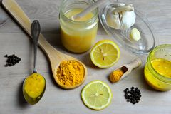 Honey Golden Turmeric. Natural antibiotic with honey Golden Turmeric Royalty Free Stock Photos