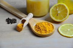 Honey Golden Turmeric. Natural antibiotic with honey Golden Turmeric Royalty Free Stock Images