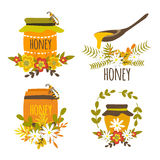 Honey Hand Drawn Compositions. With bee products wooden spoon flower decoration wreath of leaf isolated vector illustration Stock Photos