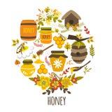 Honey Hand Drawn Round Design Royalty Free Stock Photography