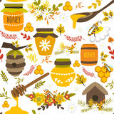 Honey Hand Drawn Seamless Pattern Fotos de archivo libres de regalías