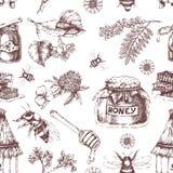 Honey Hand Drawn Seamless Pattern Stock Afbeelding