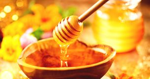 Honey. Healthy organic thick honey dripping from the honey dipper in wooden bowl. Sweet dessert royalty free stock photos