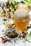 Honey and Herbal tea Stock Photography