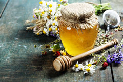 Honey and Herbal tea Stock Photos