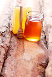 Honey with honey comb Royalty Free Stock Photography