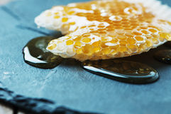 Honey and honeycell on the table Royalty Free Stock Photography