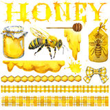 Honey, honeycomb, honey bee. Set for design label products from honey. Watercolor illustration Stock Photo
