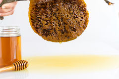 Honey with Honeycomb. Honey and Honeycomb on white background Stock Photography