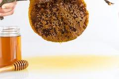 Honey with Honeycomb. Honey and Honeycomb on white background Stock Photography