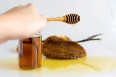 Honey with Honeycomb. Honey and Honeycomb on white background Stock Images