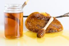 Honey with Honeycomb. Honey and Honeycomb on white background Royalty Free Stock Photo