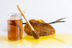 Honey with Honeycomb. Honey and Honeycomb on white background Royalty Free Stock Photos