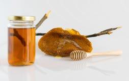 Honey with Honeycomb. Honey and Honeycomb on white background Royalty Free Stock Photos