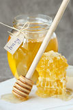Honey and honeycombs. Stock Photo