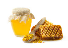 Honey honeycombs and pollen. Royalty Free Stock Photo