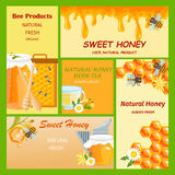 Honey horizontal vertical and square banners presenting sweet natural honey with bees hive and wax cells vector. Illustration. Sweet honey banner food natural royalty free illustration