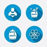 Honey icon. Honeycomb cells with bees symbol Royalty Free Stock Images