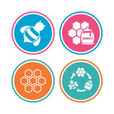 Honey icon. Honeycomb cells with bees symbol. Stock Photo