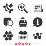 Honey icon. Honeycomb cells with bees symbol. Sweet natural food signs. Newspaper, information and calendar icons. Investigate magnifier, chat symbol. Vector royalty free illustration