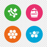 Honey icon. Honeycomb cells with bees symbol. Sweet natural food signs. Round buttons on transparent background. Vector royalty free illustration