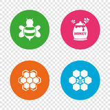Honey icon. Honeycomb cells with bees symbol. Stock Photography