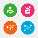 Honey icon. Honeycomb cells with bees symbol. Sweet natural food signs. Round buttons on transparent background. Vector vector illustration