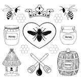 Honey icon. Set of honey and bee labels for honey logo products, badges and design elements Royalty Free Stock Photography