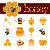 Honey icon set Stock Images