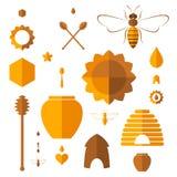 Honey. Icon set. Isolated objects on white background. Vector illustration (EPS 10 Stock Photo