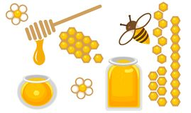 Honey icon set. Round and quart honey jar, bee with flower, honeycomb in different species. Round and quart honey jar, bee with flower, honeycomb in different Stock Photos