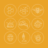 Honey Icons in Circles Stock Photography