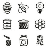 Honey Icons Freehand Fotografia Stock