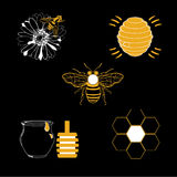 Honey icons set with beehive wax cell flying bee isolated. Vector illustration. Badges and labels design Stock Photo