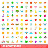 100 honey icons set, cartoon style Royalty Free Stock Photography
