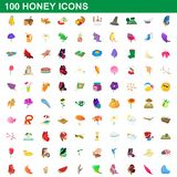 100 honey icons set, cartoon style. 100 honey icons set in cartoon style for any design illustration stock illustration