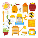 Honey Icons Set con l'ape, apicoltore, favo Immagine Stock