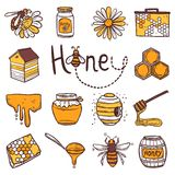 Honey Icons Set Royalty Free Stock Images