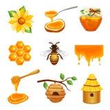 Honey Isolated Icon Set Stock Photo