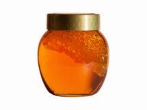 Honey jar. Jar of Honey with honeycomb isolated on white Stock Photos
