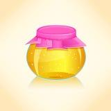 Honey Jar. Bright Honey Glass Jar. Illustration Stock Images