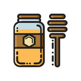 Honey Jar And Dipper, Thin Line Flat Style Icon Royalty Free Stock Photography