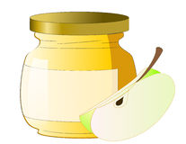 Honey jar with apple Royalty Free Stock Photo