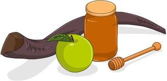 Honey Jar Apple And Shofar per Yom Kippur Fotografia Stock Libera da Diritti
