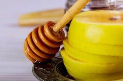 Honey jar with apples Rosh Hashana hebrew religious holiday. Shofar, honey and pomegranate stock photos