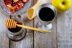Honey jar with apples Rosh Hashana hebrew religious holiday. Shofar, honey and pomegranate stock images